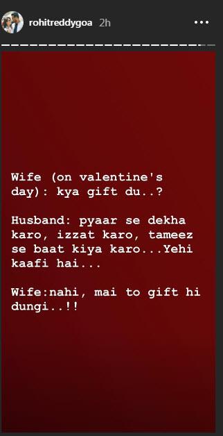 Rohit's Instagram story