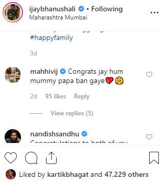 Jay Bhanushali and Mahhi Vij are expecting their first baby