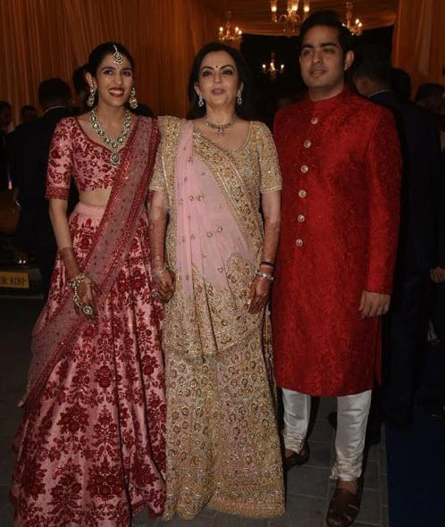 Nita Ambani, Akash Ambani and Shloka Mehta