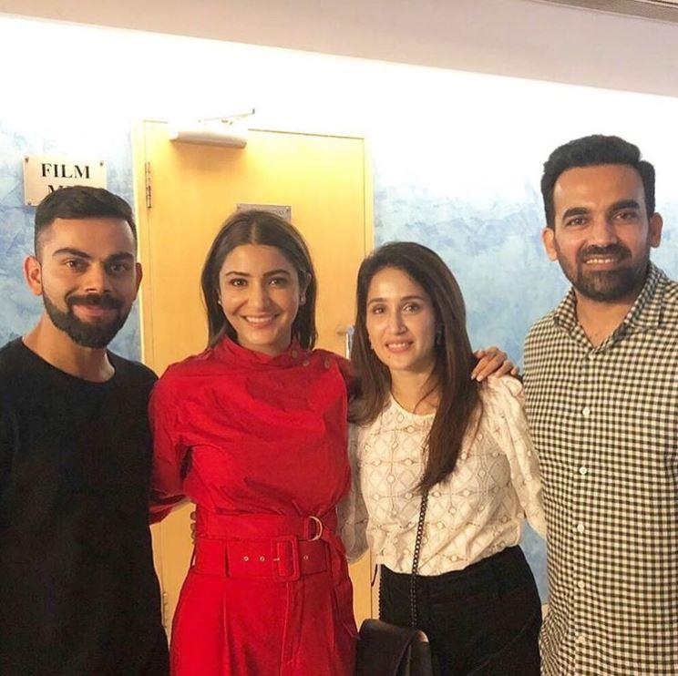 Zaheer Khan, Sagarika Ghatge, Virat Kohli and Anushka Sharma
