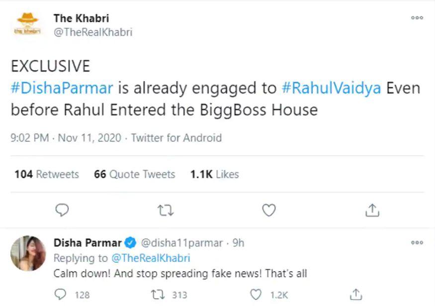 Rahul Vaidya Disha Parmar Engaged