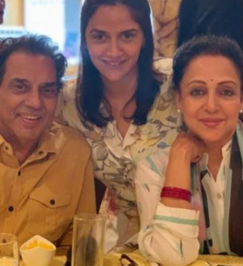 Hema Malini and Dharmendra with Ahana Deol