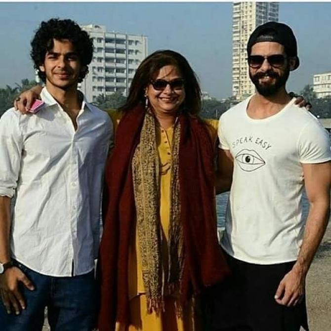 Shahid Kapoor and Ishan Khatter with their mother