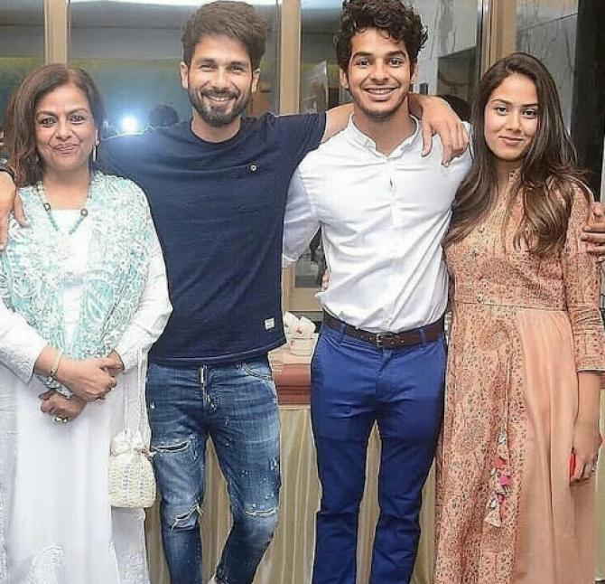 Shahid Kapoor and Ishaan Khatter with their mother