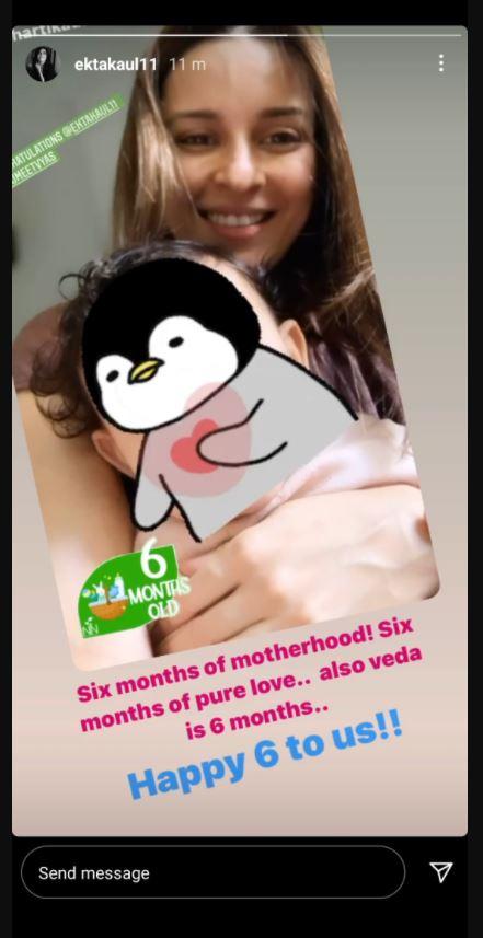 Ekta Kaul with her baby boy