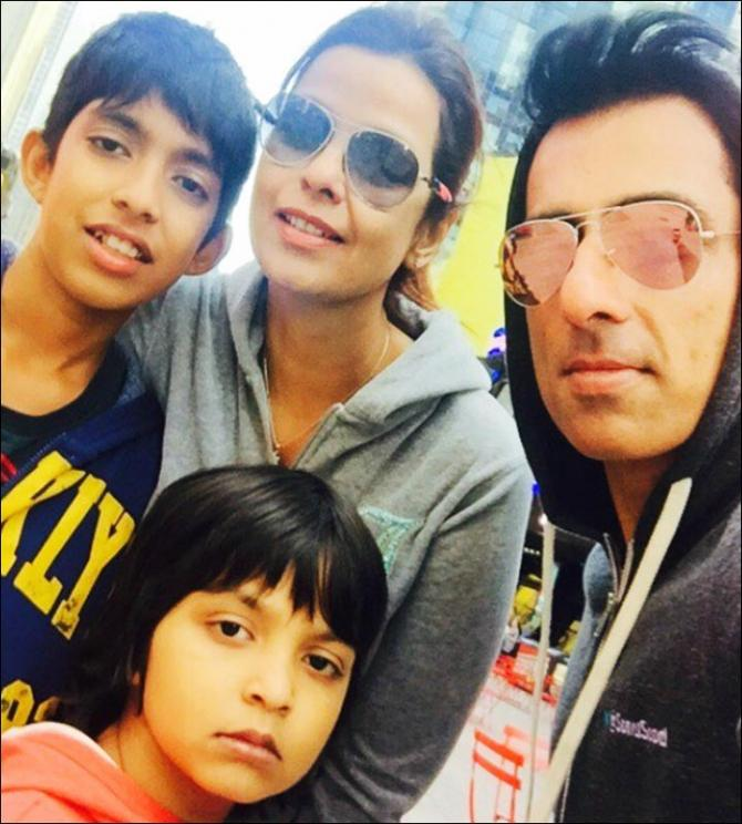 Sonu Sood with his wife and kids