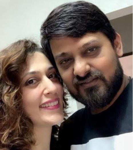 Wajid Khan with his wife