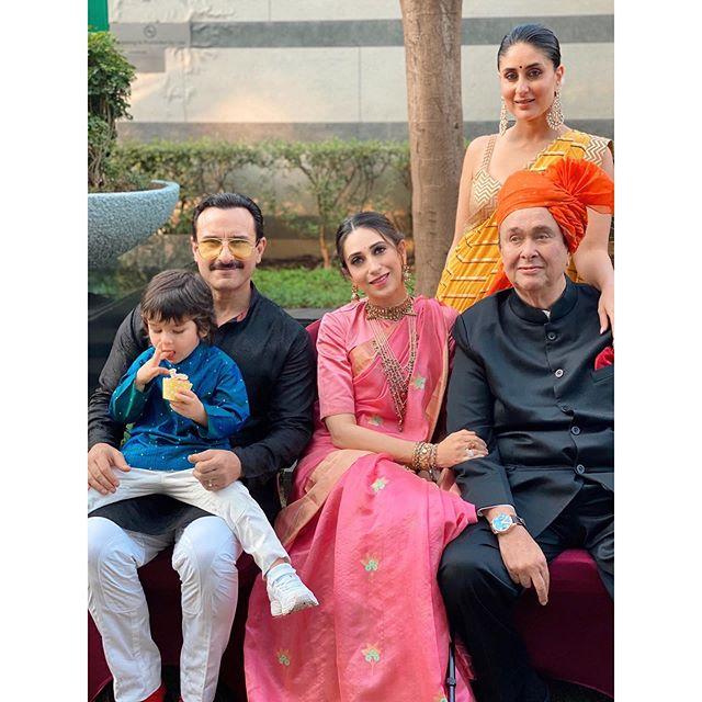 Saif Ali Khan, Kareena Kapoor Khan, Taimur Ali Khan, Randhir Kapoor and Karisma Kapoo