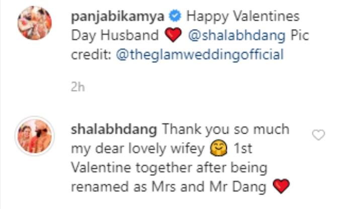 Shalabh Dang comment on Kamya Panjabi's Valentine's Day wish