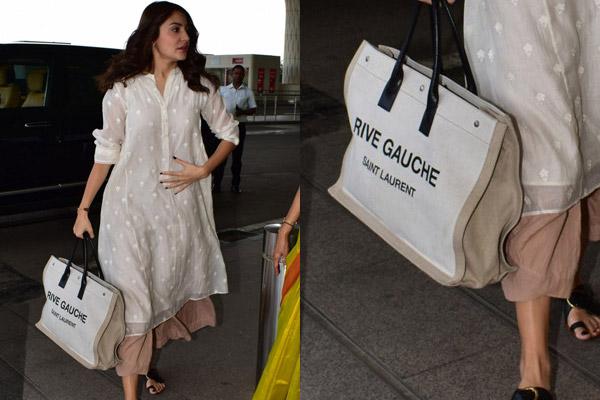 Linen and leather tote bag Anushka Sharma Saint Laurents Rive Gauche