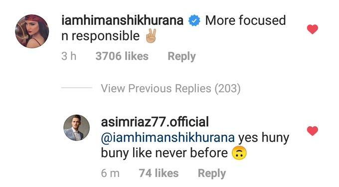 Asim and Himahsi mushy comments