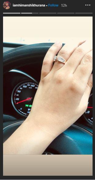 Himanshi Khurrana Diamond Ring