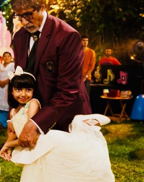 Aaradhya Bachchan and Amitabh Bachchan