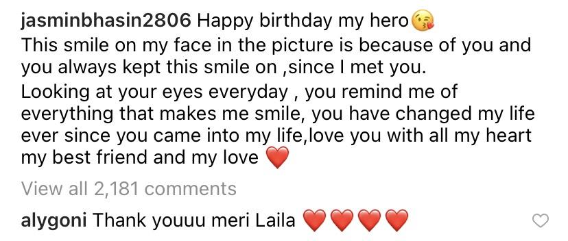 Aly Goni Birthday Wish Jasmin