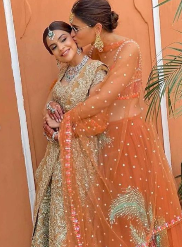 Alia Bhatt Looks Gorgeous In An Orange 'Lehenga' At Her BFF's Wedding,  Poses With Her Girl Squad