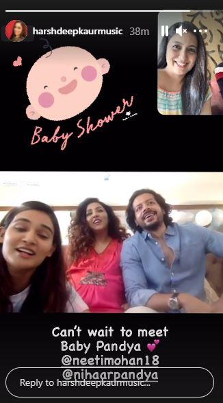 Harshdeep kaur attends Neeti Mohan's virtual baby shower