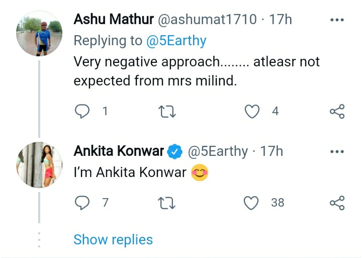 Ankita Konwar Corrects A User On Being Called 'Mrs Milind', Marks Her Individual Identity By A Reply