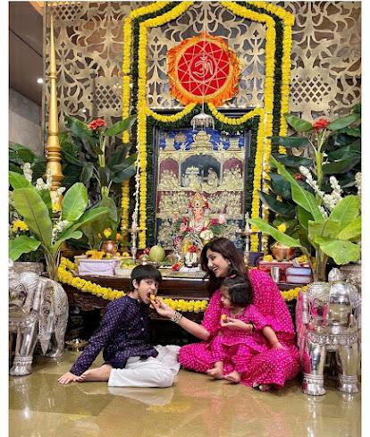 Shilpa Shetty Ganesh Chaturthi with kids