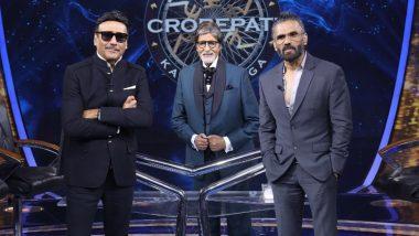 Jackie Shroff with Suniel Shetty on the sets of KBC13