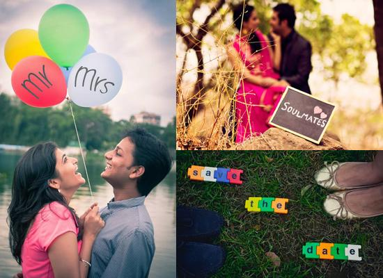 Fun and fantastic props couples can add to their pre wedding shoot