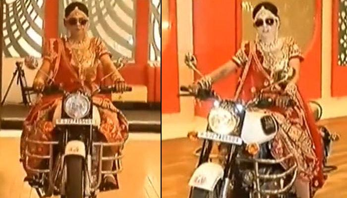 Like A Boss: Indian Bride Rides Into Wedding Reception On A Motor Cycle