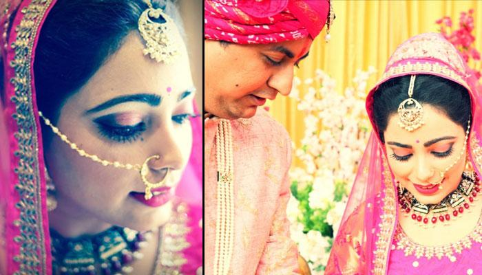 This Bride Wore Beautiful Brocade Silk Magenta Lehenga With Beads And Looked Stunning In It
