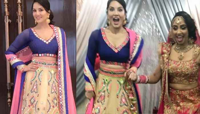 Sunny Leone Looked Like An Angel In Mirror Work Lehenga On Her Sisters Wedding Canada