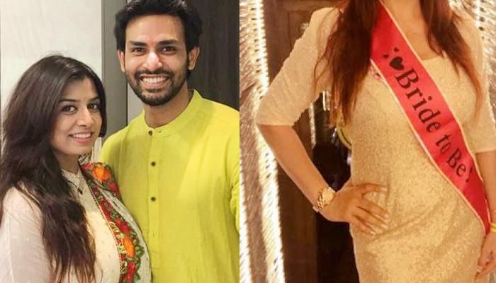 Naman Shaw's Fiancee Neha Mishra Look Stunning In One Piece Gold Dress On Her Bridal Shower