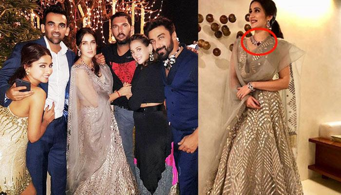 Sagarika Looked Stunning In An Unusual Diamond-Ruby Necklace At Her Post-Wedding Party