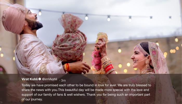 This Is How Virat And Anushka Announced It To The World That They Are Married