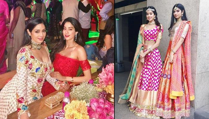 When Sridevi And Her Daughters Rocked It In Gorgeous Dresses In A High-Profile Wedding