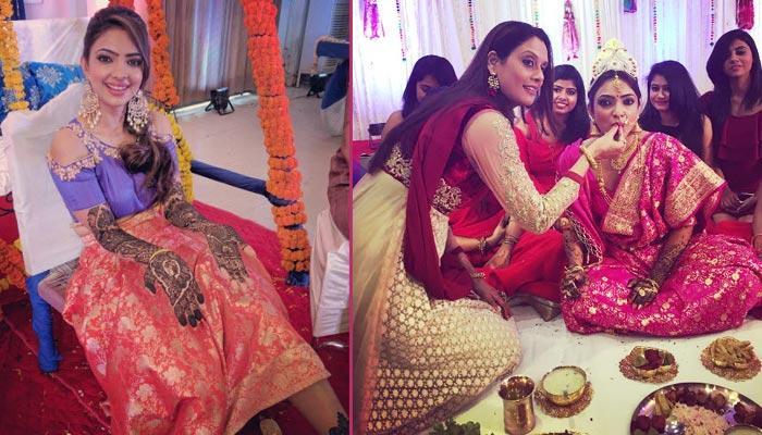 'Naagarjuna' Fame Actress Pooja Banerjee Looks Stunning In Her Mehendi And Sangeet Pictures