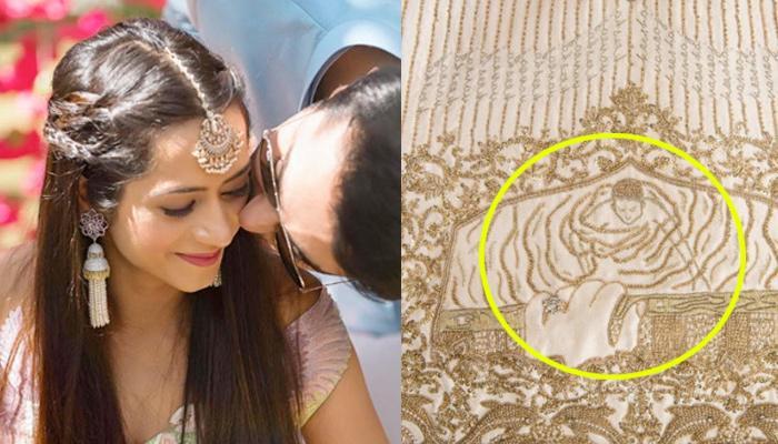 Fashion Designer Kresha Bajaj Stitched Her Love Story On Her White And Golden Theme Bridal Lehenga