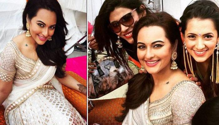 Sonakshi Sinha Looked Like A Diva On Her Brother's Mehendi In This White-Gold Lehenga