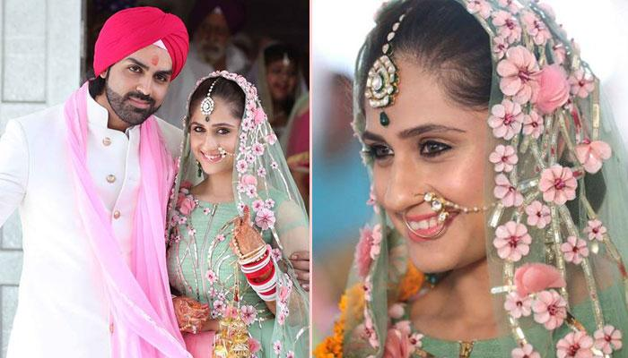 When TV Diva Hunar Made A Gorgeous Bride In A Pastel Green And Pink Lehenga At Her Gurudwara Wedding