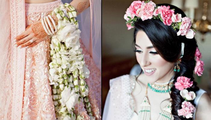 This Bride Ditched The Usual Kaliras And Wore Kaliras Made Of Real Flowers On Her Wedding
