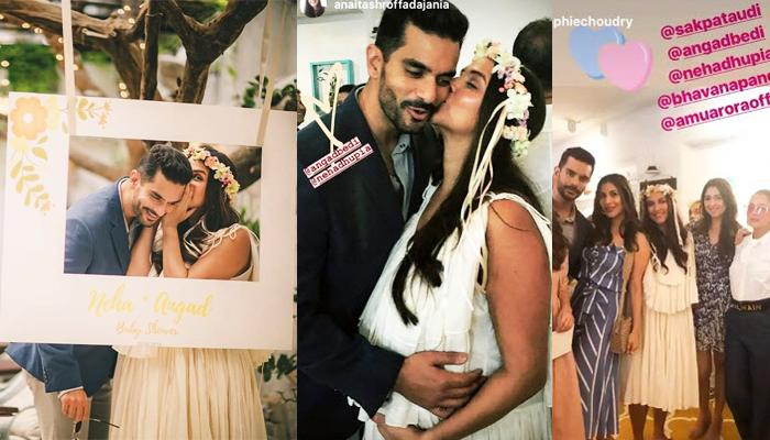 Inside Pictures From Neha Dhupia's Baby Shower, Cuts An 'Oh Baby' Cake With Hubby Angad Bedi