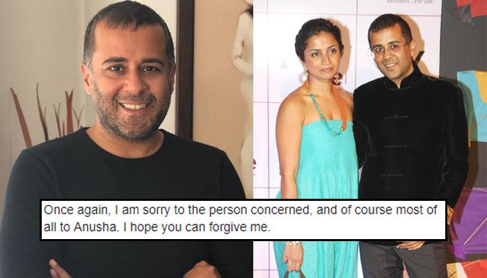 Chetan Bhagat Apologises To Wife Anusha Bhagat After Getting Accused Of Sexually Harassing A Girl