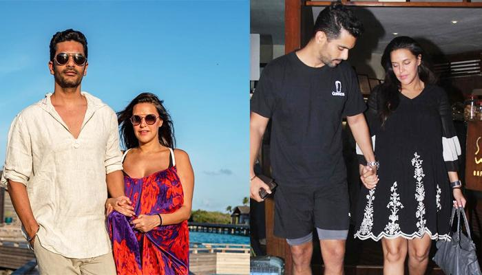 Angad Bedi Holds Pregnant Neha Dhupia's Hands And Safely Escorts Her Out Of Their Dinner Date