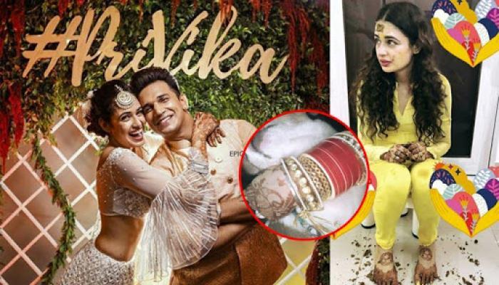 Yuvika Chaudhary Looks Like A Sunshine On Her Haldi Ceremony, Gives A Sneak Peek Of Her Chooda