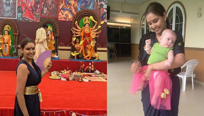 Lisa Ray Takes Her 4-Month-Old Twins, Sufi-Soleil To Attend Durga Pooja 2018 In Hong Kong