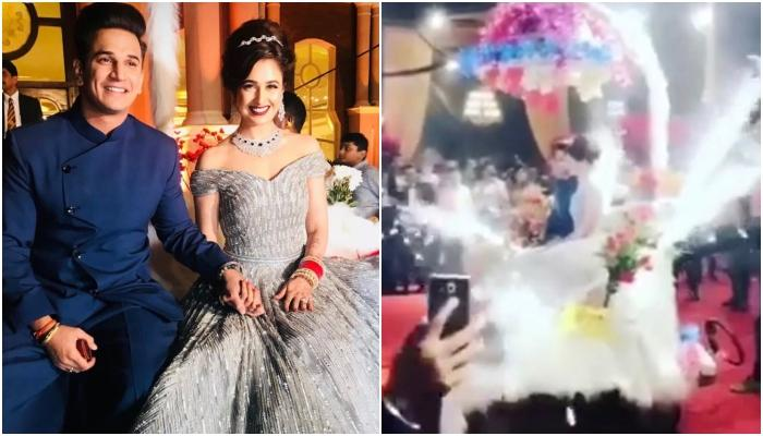 Prince Narula And Yuvika Chaudhary Make A Grand Entry On Floral Carriage At Their Reception [VIDEO]
