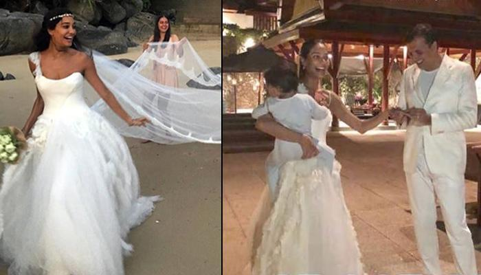 Lisa Haydon Gets Married Again At Same Venue, Wearing Same Wedding Outfit, Holding 1-Year-Old Son