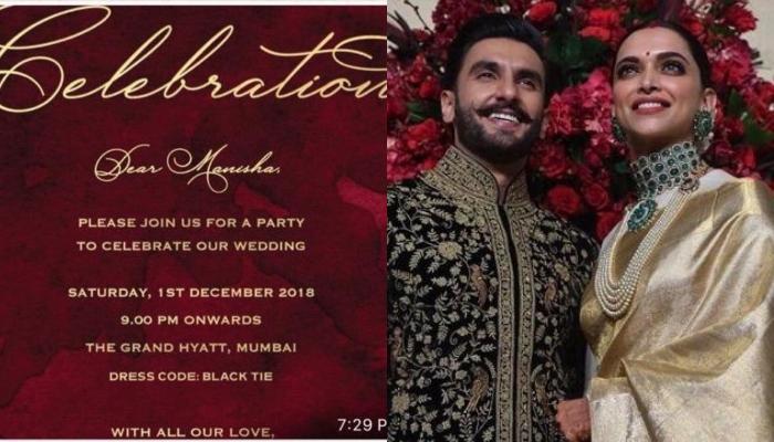 Invitation Card Of Deepika Padukone And Ranveer Singh S Third