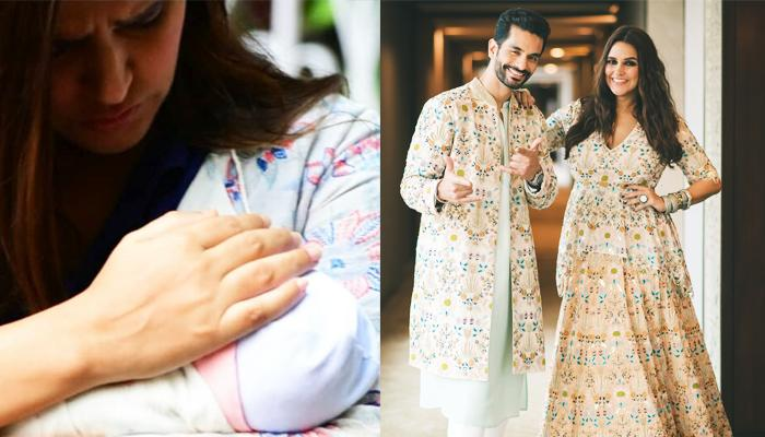 Neha Dhupia, Angad Bedi And Their Baby Girl, Mehr Dhupia Bedi's First Family Picture Together