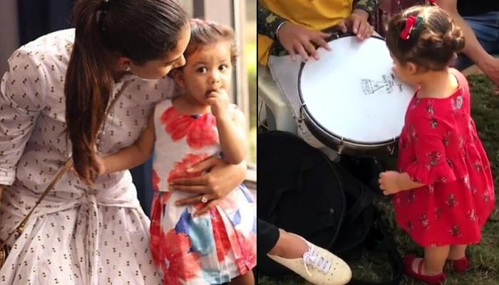 After Showing Her Dancing Talent, Misha Plays Drum And Proves That She Is A Musical Baby