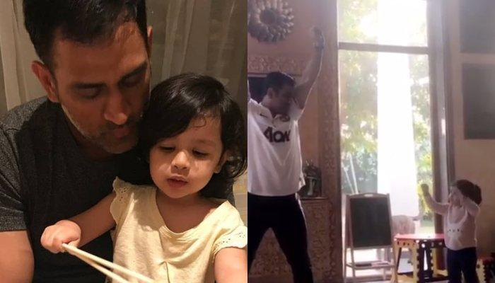 Ziva Dhoni Turns Dance Teacher For Daddy Mahendra Singh Dhoni, Their Dance Is A Treat To The Eyes