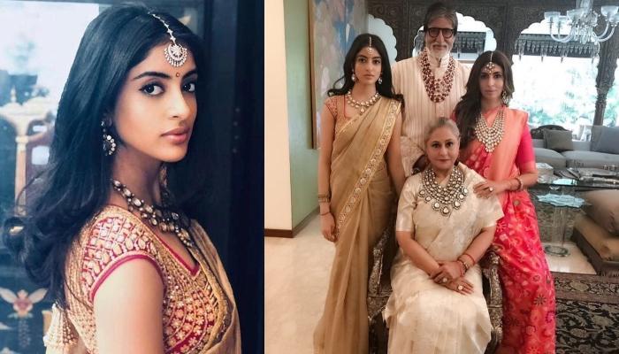 Navya Naveli Nanda Revamps Grandma Jaya Bachchan's Saree For Isha Ambani's Wedding