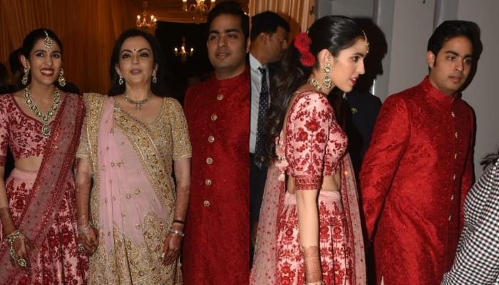 Shloka Mehta Twins With Fiance Akash Ambani In Red At Isha Ambani-Anand Piramal's Mumbai Reception