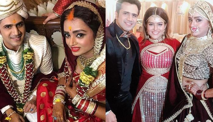 Parul Chauhan Of 'Bidaai' Fame Looks Stunning In Her Maroon Lehenga On Her Wedding Reception